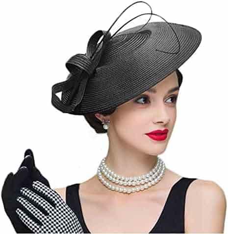053af4e2e94fa FADVES Fascinators Pillbox Hat Weddings Women Straw Fedora Vintage Sinamay  Base Hats