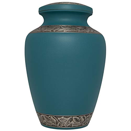 Funeral Urn by Liliane – Cremation Urn for Human Ashes – Hand Made in Brass and with Beautiful Hand Enameled with Engraved Pewter Bands Blue