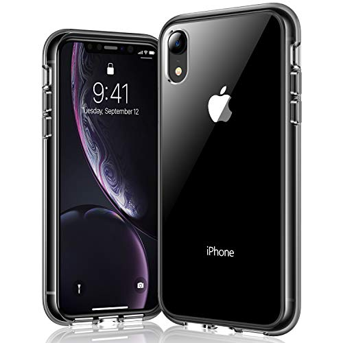 RANVOO iPhone XR case, iPhone XR Protective Clear Case [Certified Military Protection] [Agile Button] with Reinforced Black TPU Bumper and Transparent Hard PC Back Case Cover, Black