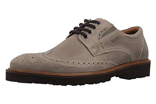 Manz Herren Business Schuh - Rock Suede Eva - Grau Schuhe in Übergrößen