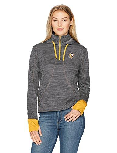 NHL Pittsburgh Penguins Adult Women NHL Women's Ots Annabelle 1/4-Zip Pullover Hoodie, Large, Jet Black