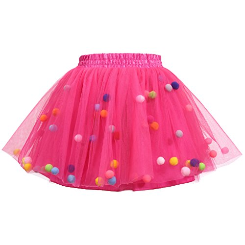 Meeyou Little Girls' 3 Layers Tutu Skirt with 3D Pom Pom Puff Balls(3-4T, Rose) by Meeyou