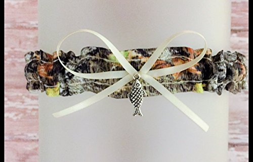 Sexy Oak Camouflage Ivory Satin Wedding Bridal Toss Demi Garter - Fish Charm
