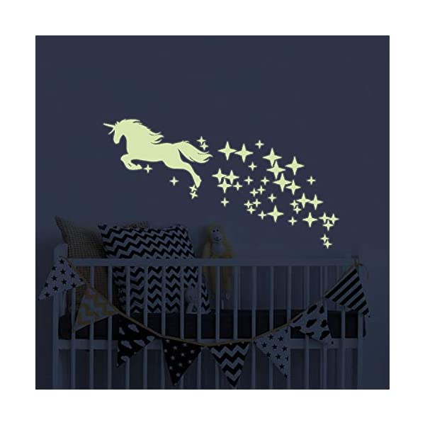 Unicorn Vinyl Wall Decals Glow in The Dark Stars DIY Kids Girls Bedroom Home Nursery Room Wall Mural Decor 3