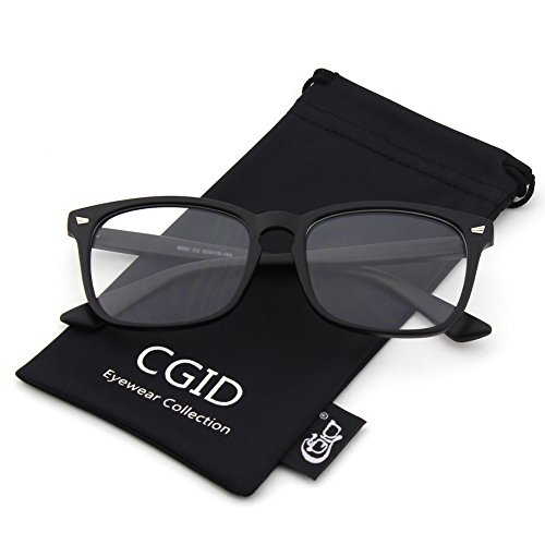 Happy Store CN82 Large Oversized Bold Frame UV 400 Clear Lens Horn Rimmed Glasses,Matte Black