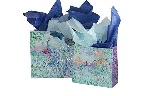 Punch Studio Pagoda Peacock Medium And Large Gift Bags With 2 Coordinating Tissue Papers