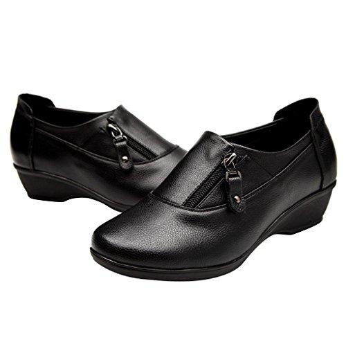 Dear Time Women Zipper Casual Low Heel Shoes Black J4ezMj5e