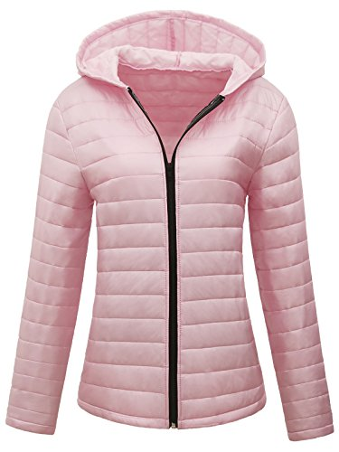 Pink Down Coat (JOKHOO Women's Lightweight Hooded Short Down Jacket Puff Coat)