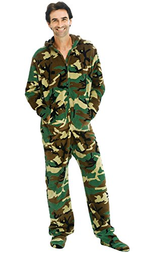 Alexander Del Rossa Mens Fleece Onesie, Hooded Footed Jumpsuit Pajamas, Small Woodland Camouflage (Woodland Camo Booty)