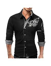 Mostsola- Men's Casual Shirt,Slim Fit,Shirts Men Long Sleeve Graphic