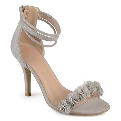 - Journee Collection Womens Ankle Strap Flower High Heels Grey, 7.5 Regular US