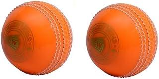 CW Lot de 2Spin Poly tous les sports Orange en PVC Souple Balle de cricket Convient pour General et Pratiquer de formation, Coaching Cricket World