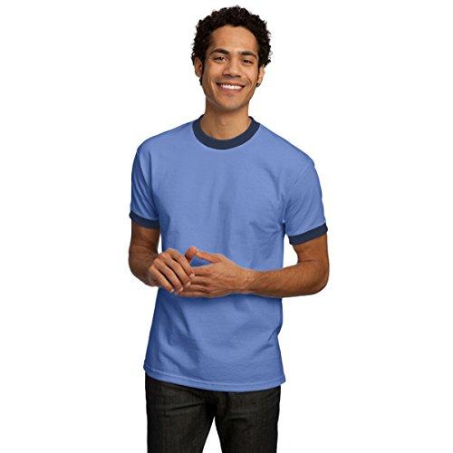 Company T-shirt Ringer - Port & Company Ringer T-Shirt, Carolina Blue and Navy, L