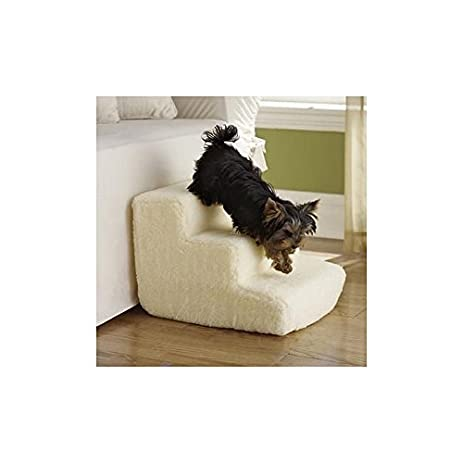 Pet Central Pet Stairs   3 Soft Sherpa Covered Steps