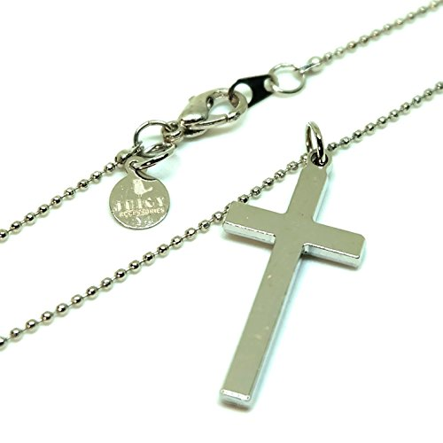 Cross silver Pendant - Barrel ball chain connector Lobster Clap Lock 18 Inch Necklace (Adult Simple Halloween Costumes)