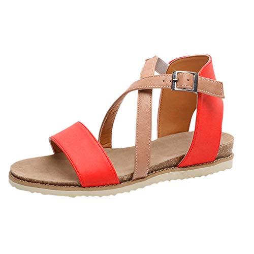 LOVESOO❤ Women's Elatica Elastic Strap Flat Sandals - Casual Flat Sandals Classic Open Toe Ankle Strap Buckle Summer Shoes Red