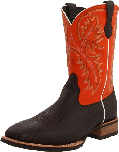 Ariat Men's Quickdraw Western Cowboy Boot, Chocolate Elephant/Mandarin, 10.5 M US