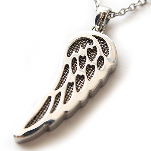 Hawaiian Aromatherapy Essential Oil Diffuser Necklace With Reusable Aroma Diffuser Wing Pendant - Hypoallergenic 316L Stainless Steel Necklace Coated with 925 Sterling Sliver Plated with 16 Inch Chain
