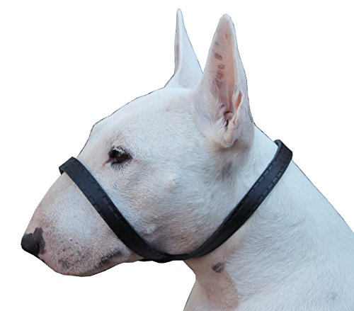 Dog Bark Muzzle - Adjustable Leather Loop Bite Bark Control Easy Fit Dog Muzzle Black Large