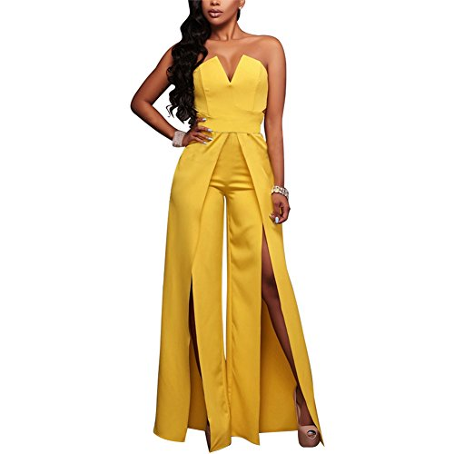 (Women's Sexy Tube Top Strapless Split Wide Leg Jumpsuits Rompers Without Belt Yellow)