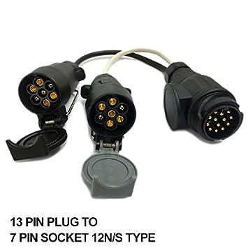 PerGrate 13 Pin Euro Stecker zu 12N 12 S 7 Pin Steckdosen Adapter ...