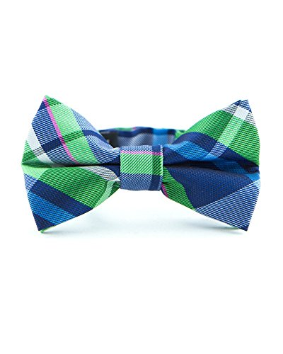 Littlest Prince Couture Navy & Green Plaid Infant/Youth Bow Tie 0-8 (Couture Bow)