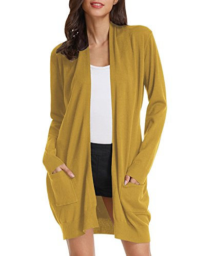 Cotton Long Cardigan - Women Open Front Long Sleeve Classic Knit Cardigan (S,Mustard)