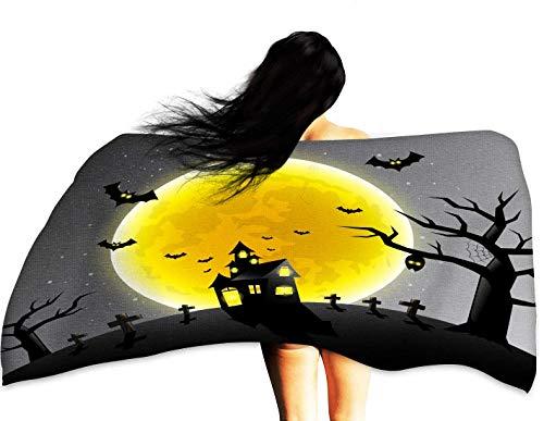WinfreyDecor Soft Superfine Fiber Bath Towel Happy Halloween Scary Night Backgrounds Vector Illustration 32