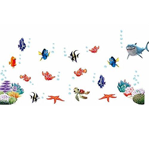 Finding Nemo Wall Murals - COUTUDI Peel&Stick Underwater World Wall Sticker Kids Bedroom Playroom Decal Tropical Adhesive Sea Life Mural Nursery Kindergarten Ocean Themed Art