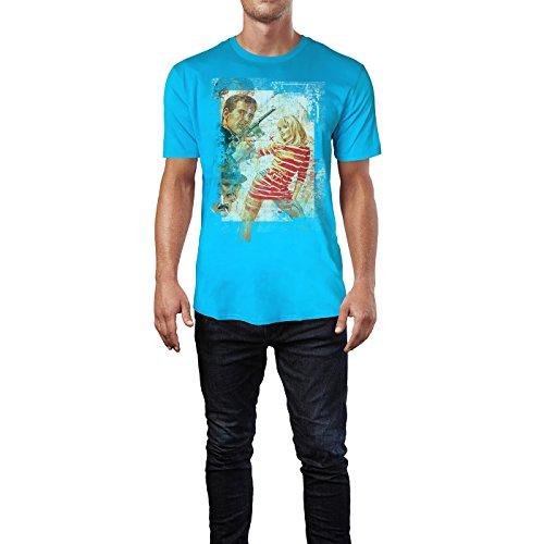 SINUS ART® Boom Boom Herren T-Shirts in Karibik blau Cooles Fun Shirt mit tollen Aufdruck