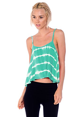 Bozzolo RT20927 Criss-Cross Back Spaghetti Strap Tie Dye Tank Top Green Large -