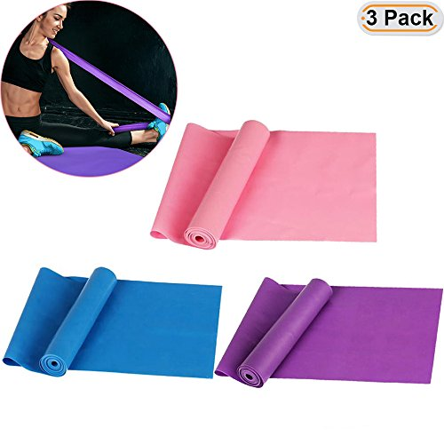 Hisight 3Pcs Professional Latex Resistance Bands and Core Exercise Physical Therapy Lower Pilates At Home Workouts and Rehab Assorted Resistances