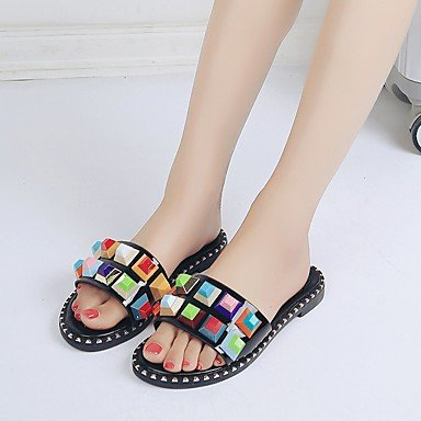 Flat Shoes Leatherette Casual Rivet CN36 Dress US6 Black Comfort UK4 Flat Summer White Heel Women'S RTRY Spring EU36 Club Sandals wqPPI4