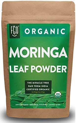 Organic Moringa Oleifera Leaf Powder | Perfect for Smoothies, Drinks, Tea & Recipes | 100% Raw From India | 16oz Resealable Kraft Bag (1 Pound) | by Feel Good Organics