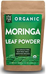 Certified USDA Organic Moringa Leaf Powder (Moringa oleifera) Organic Moringa leaf powder is made from whole moringa tree leaves, one of nature's most nutritious foods, and is loaded with vitamins, minerals, antioxidants and essential amino a...
