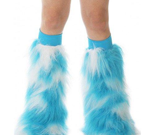 TrYptiX Women's Fluffy Leg Warmers Turquoise White One Size Turquoise Kneeband (White Fluffy Leg Warmers)