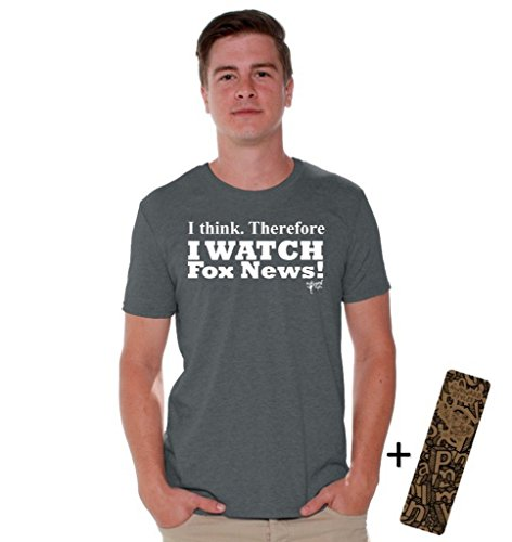Awkwardstyles I Watch Fox News T-Shirt Political White Shirt + Bookmark 3XL Charcoal