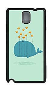 Samsung Note 3 Case Cartoon Whale Can Fly PC Custom Samsung Note 3 Case Cover Black