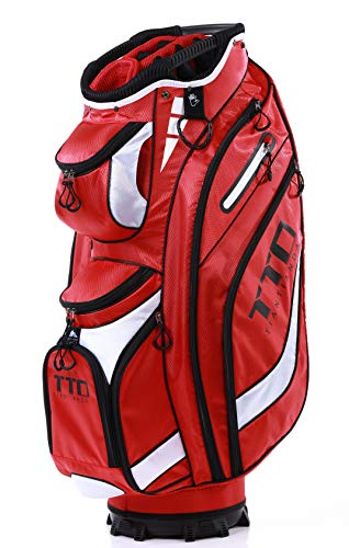 TTD TIANTIANDA Golf Cart Bag,7lb, EGHandy-9, 14 Way Full Length Divider, 10 Pockets (Red) (Best Carry Golf Bag With 14 Dividers)