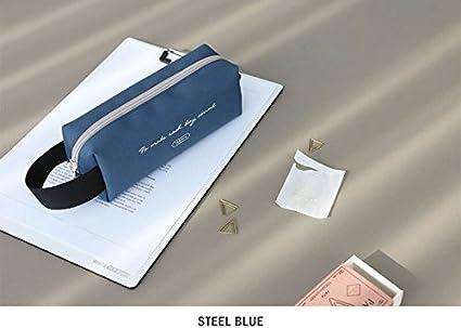 Estuche para lápices con diseño icónico, color azul plateado: Amazon.es: Oficina y papelería