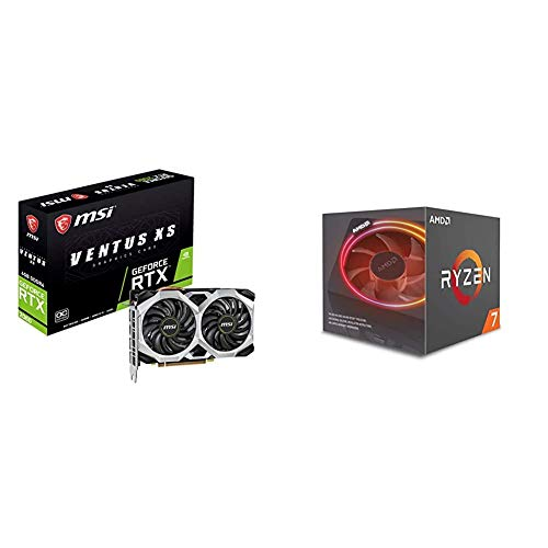 MSI Gaming GeForce RTX 2060 6GB GDRR6 192-bit HDMI/DP Ray Tracing Turing Architecture VR Ready Graphics Card (RTX 2060 Ventus XS 6G OC) & AMD Ryzen 7 2700X Processor with Wraith Prism LED Cooler