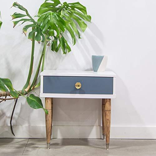 Mesita de noche vintage de madera con un cajón en color blanco y ...