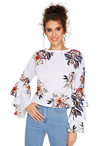 SheIn Women's Round Neck Ruffle Long Sleeve Blouse Small Floral# - Long Sleeve Womens Blouse