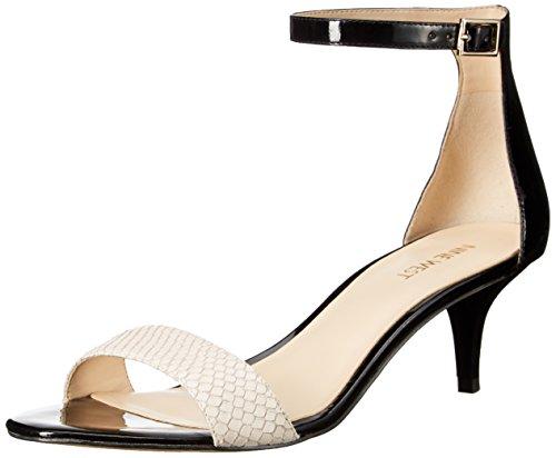 Nine West Leisa sintético vestido de la sandalia Black-Off White