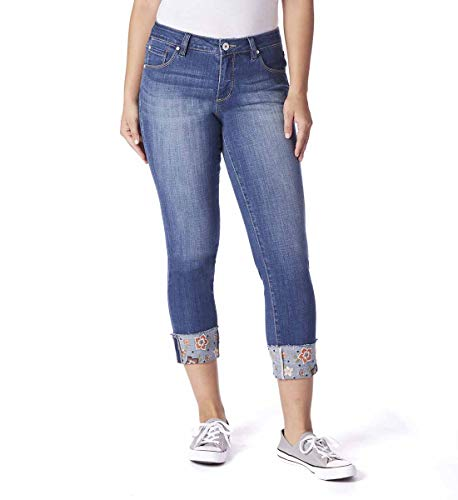 Jag Jeans Women's Carter Girlfriend Jean with Embroidered Cuff, Thorne Blue, 16