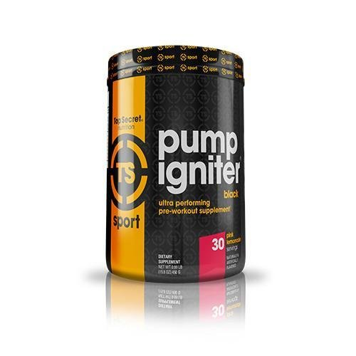 Top Secret Nutrition Pump Igniter Black Pre-Workout Supplement with Beta-Alanine, L-Citrulline, and Hydromax, Net Wt. 0.99 lbs. (30 Servings) Pink Lemonade