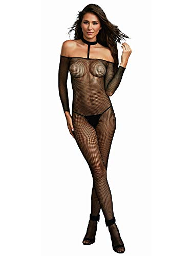 Dreamgirl Women's Fishnet Off The Shoulder Bodystocking with Attached Collar, Black One Size ()