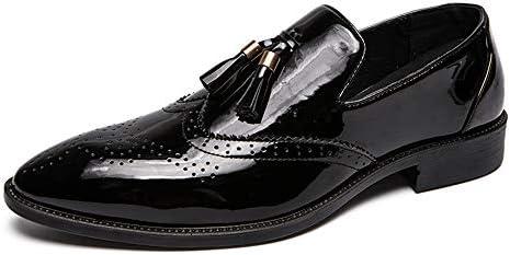 大きいサイズの靴の古典的なタッセルスタイルブローグパテントレザーのスリップメンズビジネスオックスフォードカジュアルローヒール 快適な男性のために設計