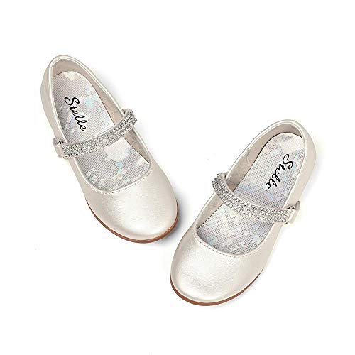 STELLE Girls Mary Jane Shoes Slip-on Party Dress Flat for Kids Toddler (9MT, -