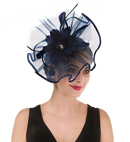 SAFERIN Fascinator Church Feather Mesh Net Veil Party Hat Flower Kentucky Derby Hat with Clip and Hairband for Women (TA1-Large Size Navy Feather Mesh)]()